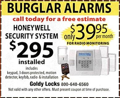 Honeywell Burglar Alarm Special Offer Coupon Chicago Area